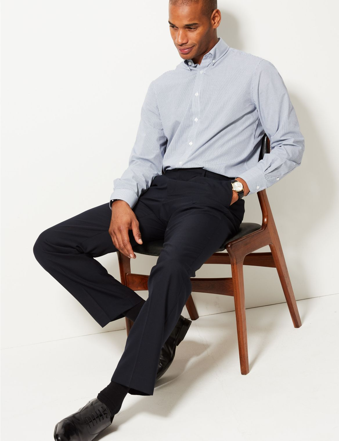 Regular Fit Wool Rich Single Pleated Trousers navy