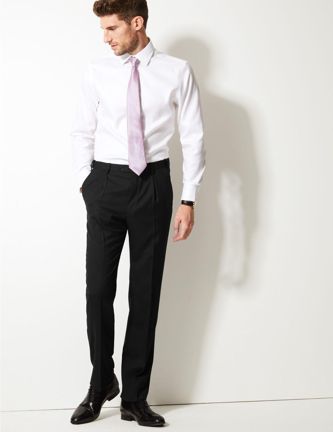 Regular Fit Wool Rich Single Pleated Trousers black