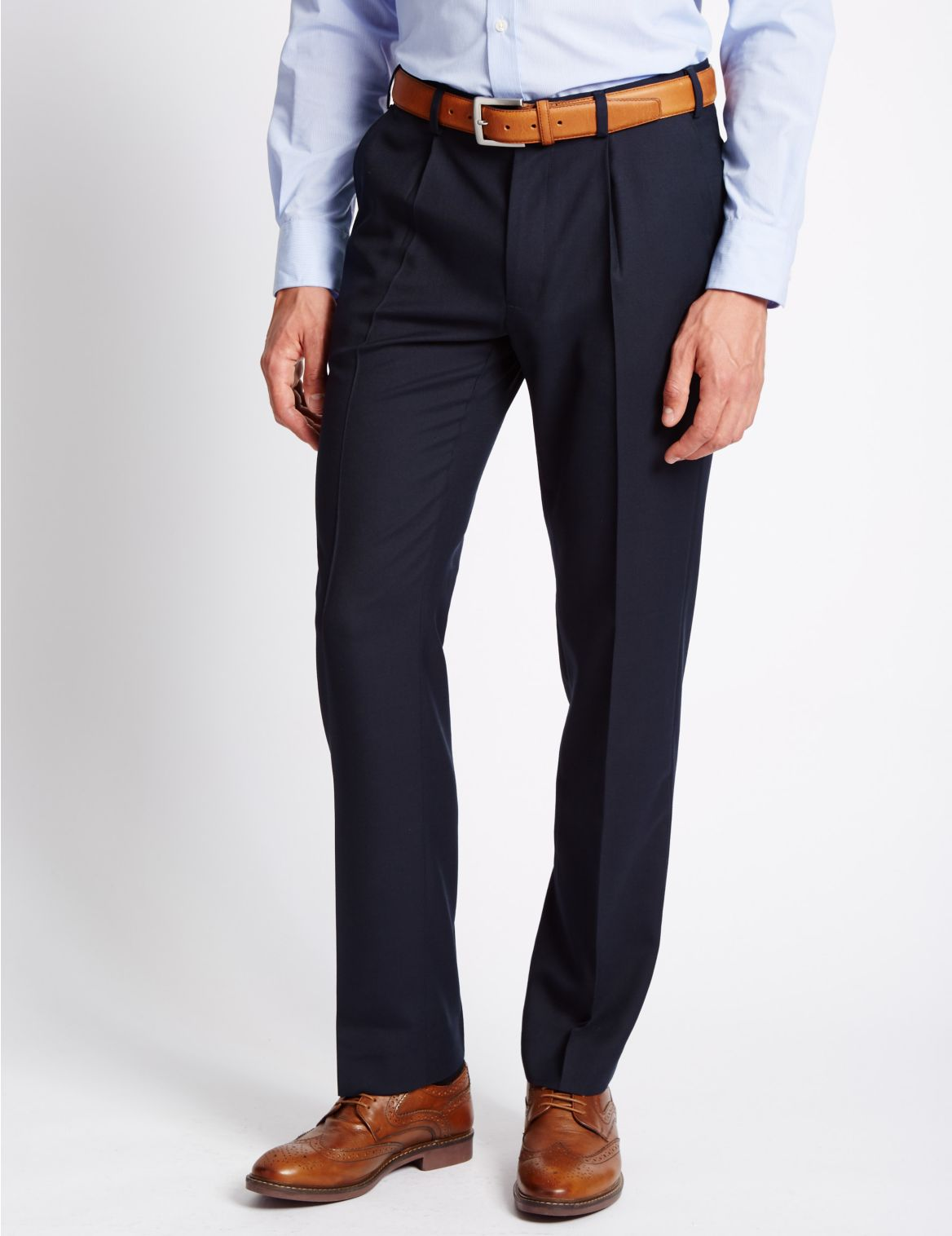Tailored Wool Blend Single Pleated Trousers navy