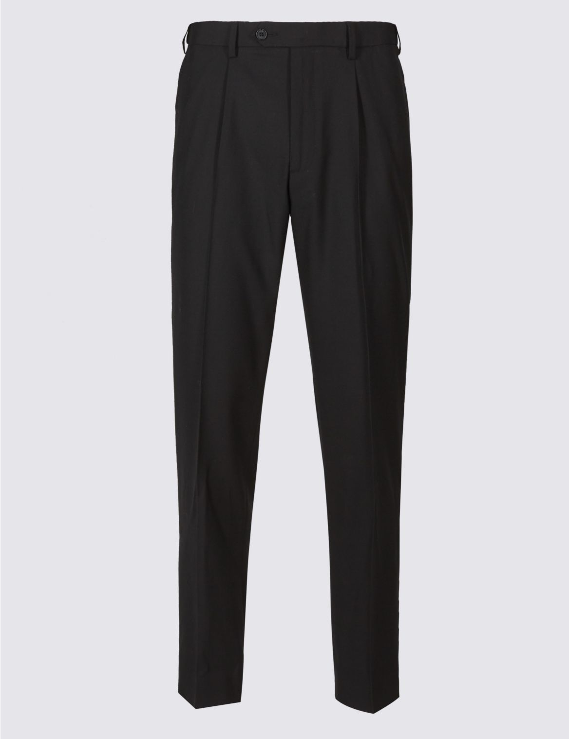 Tailored Wool Blend Single Pleated Trousers black