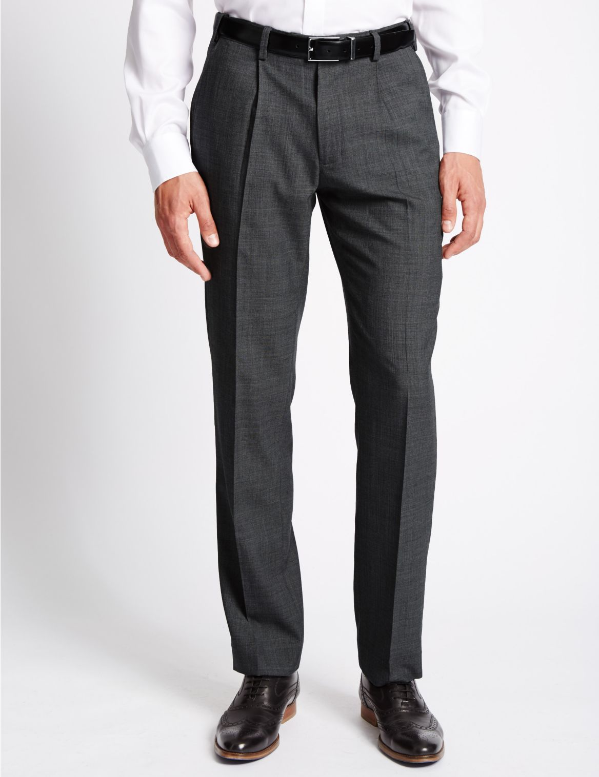 Tailored Wool Blend Single Pleated Trousers grey