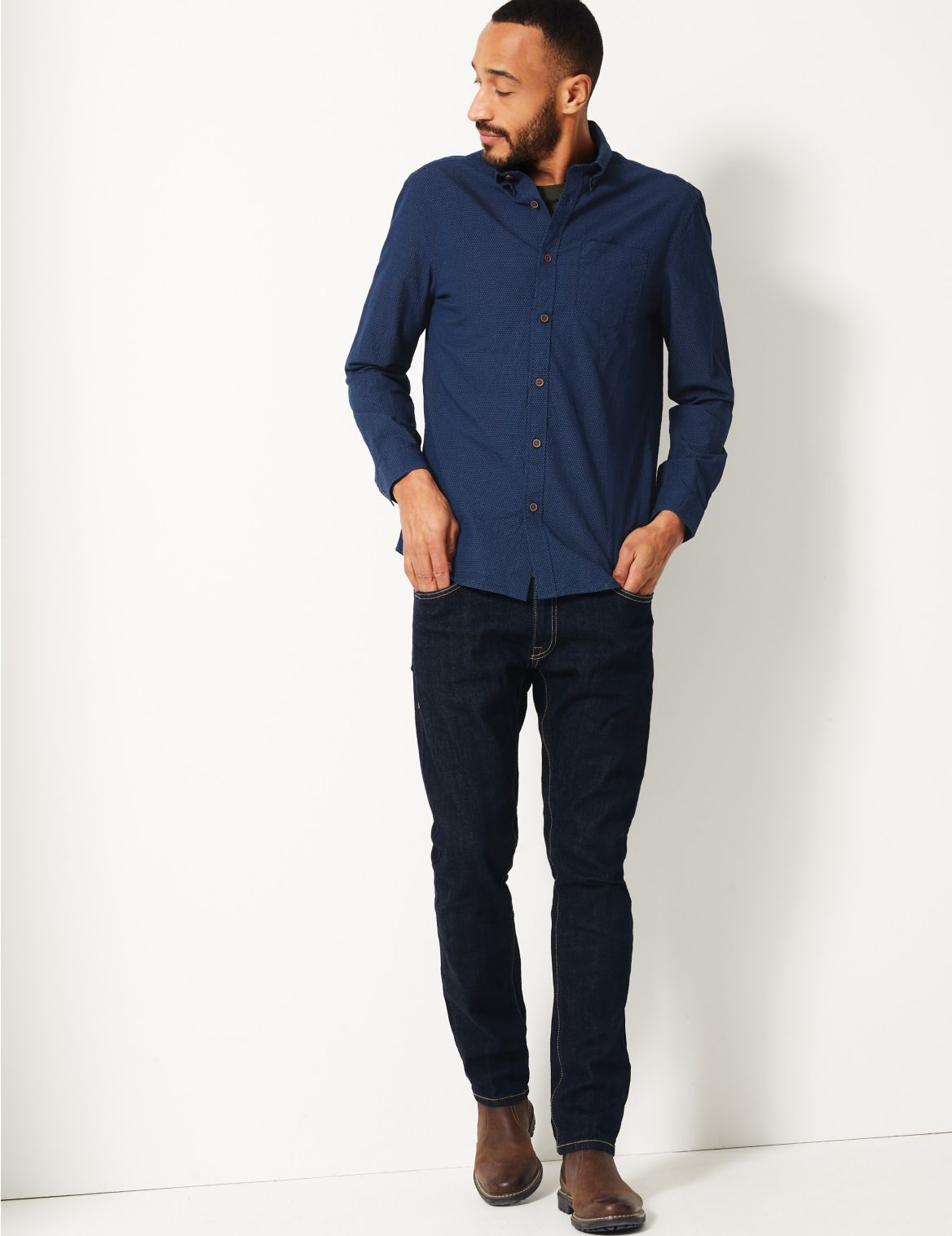 Pure Cotton Textured Shirt dark indigo