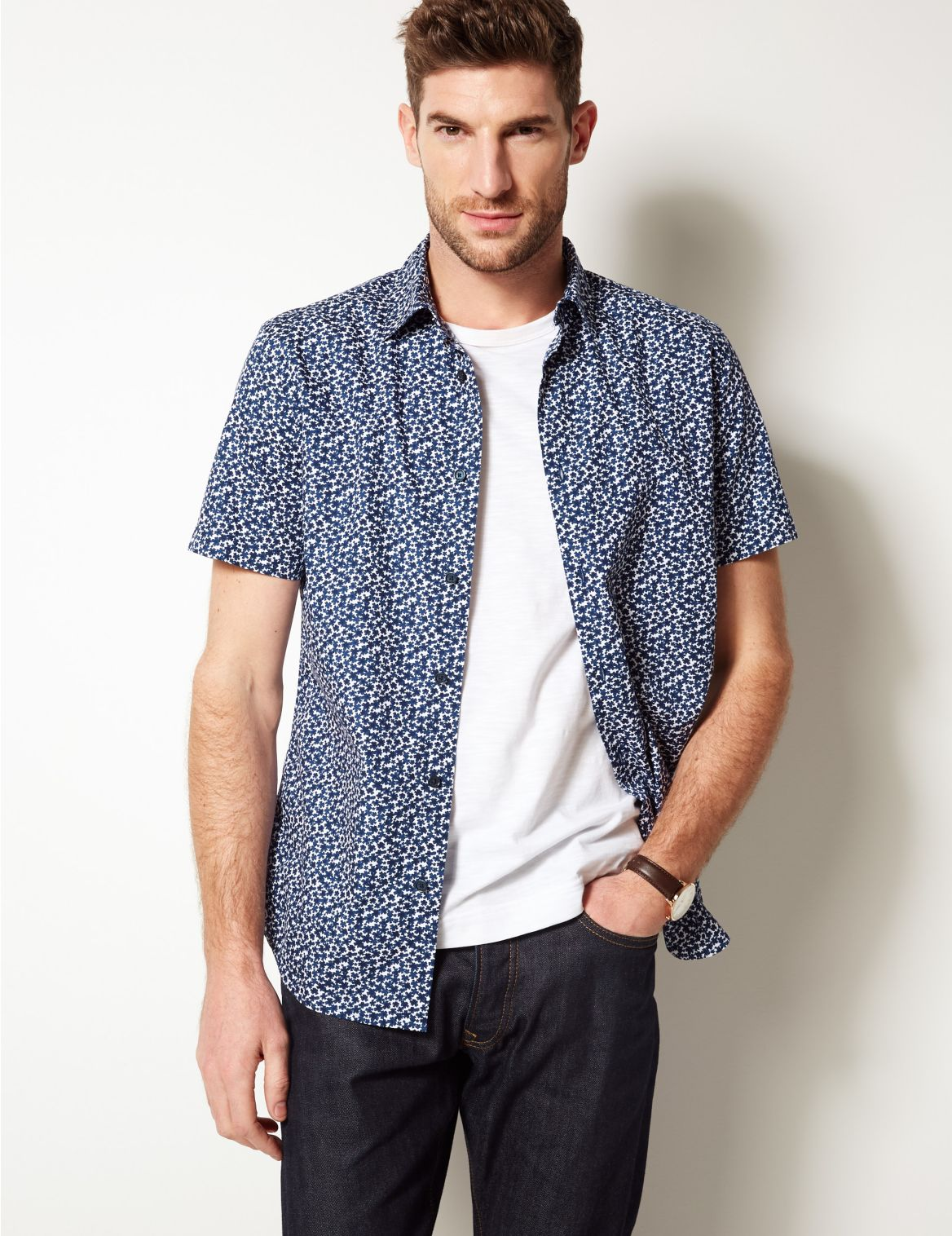 Pure Cotton Printed Shirt dark indigo