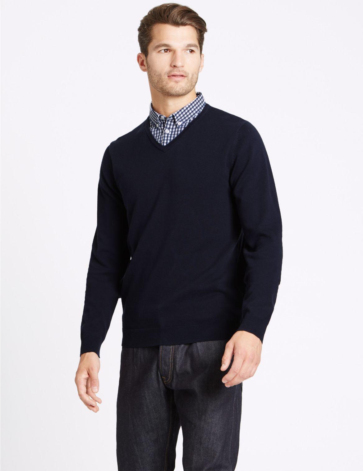 Pull 2en1 100% coton avec col de chemise Ă carreaux