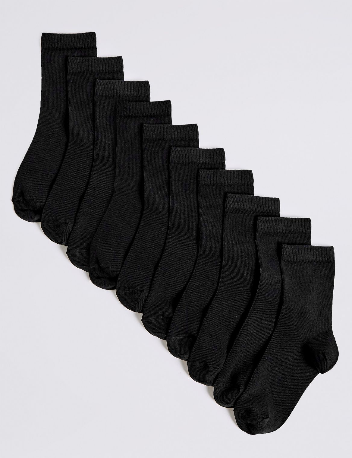 10 Pairs of Ankle Socks (2-16 Years) black