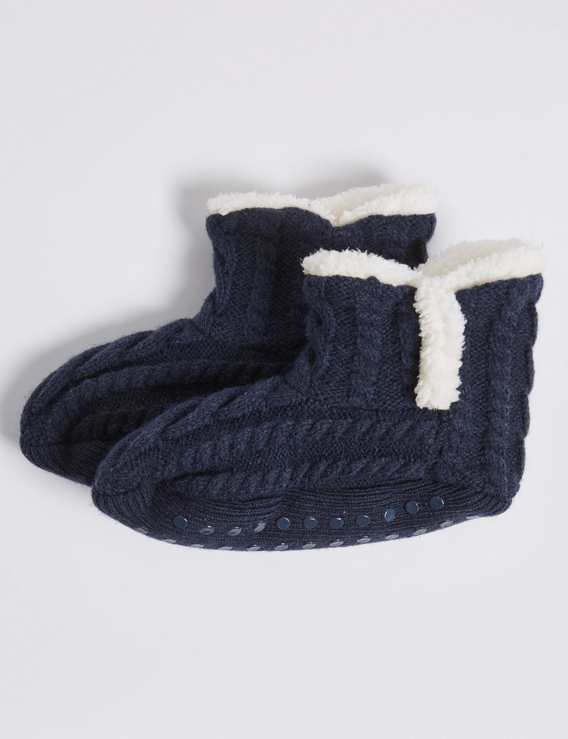1 Pair of Cosy Slipper Socks (2-14 Years) navy