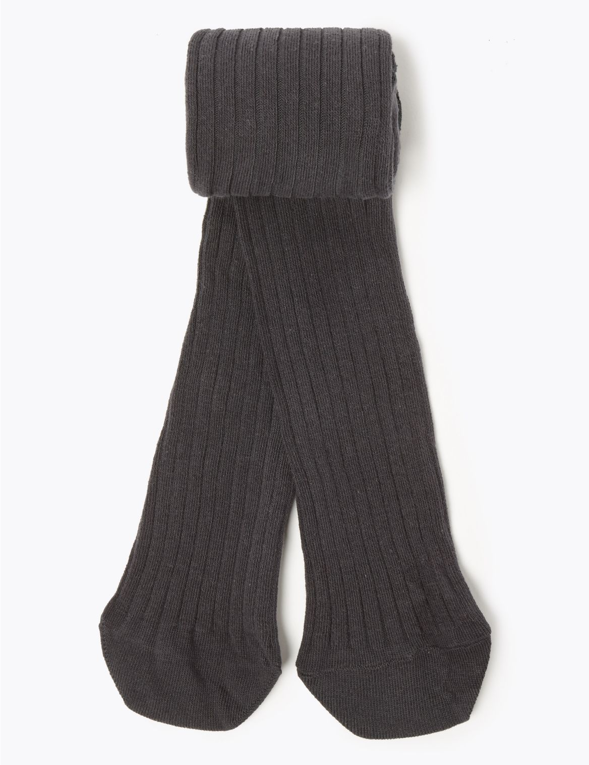1 Pair of Ribbed Tights (18 Months - 14 Years) charcoal