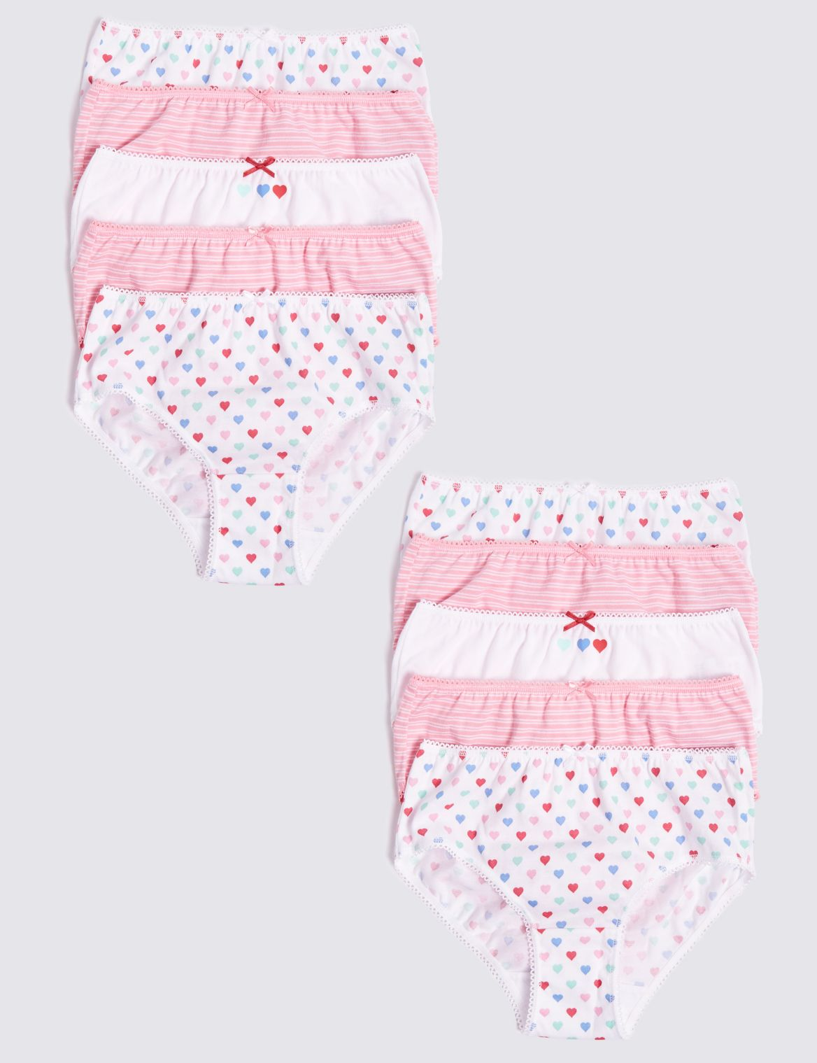 10 Pack Pure Cotton Briefs (1-10 Years) strawberry