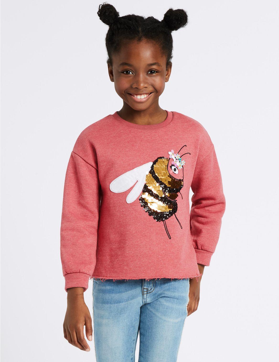 9faa3950 Sweatshirts   Cotton Rich Bee Sequin Sweatshirt (3-16 Years) berry