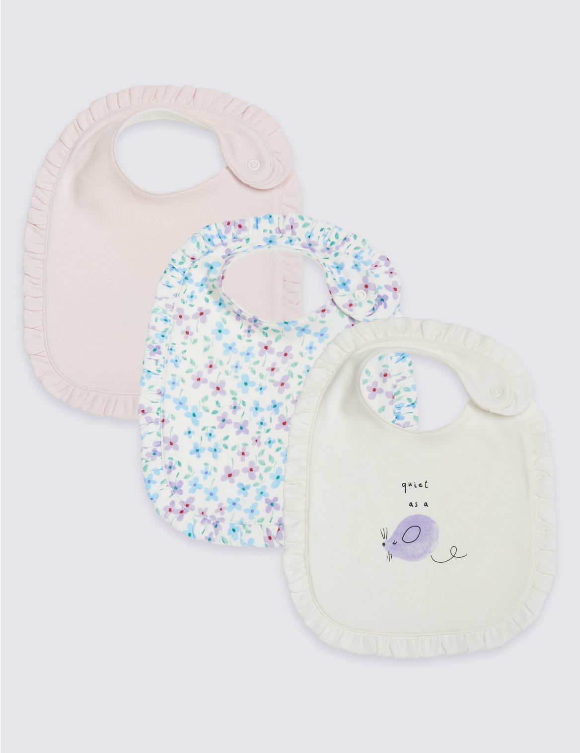 3 Pack Pure Cotton Bibs pink mix