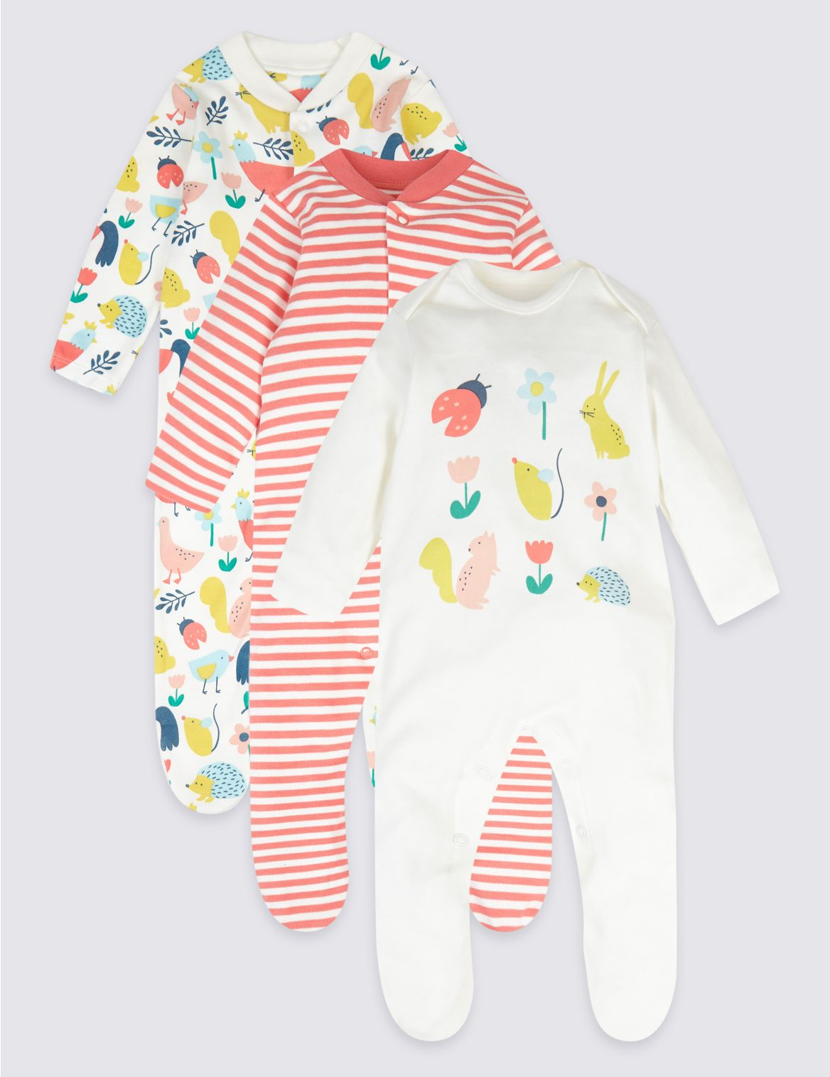 3 Pack Pure Cotton Bunny Sleepsuits multi