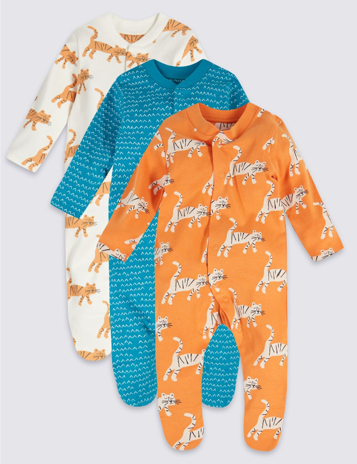 3 Pack Organic Cotton Tiger Sleepsuits blue mix
