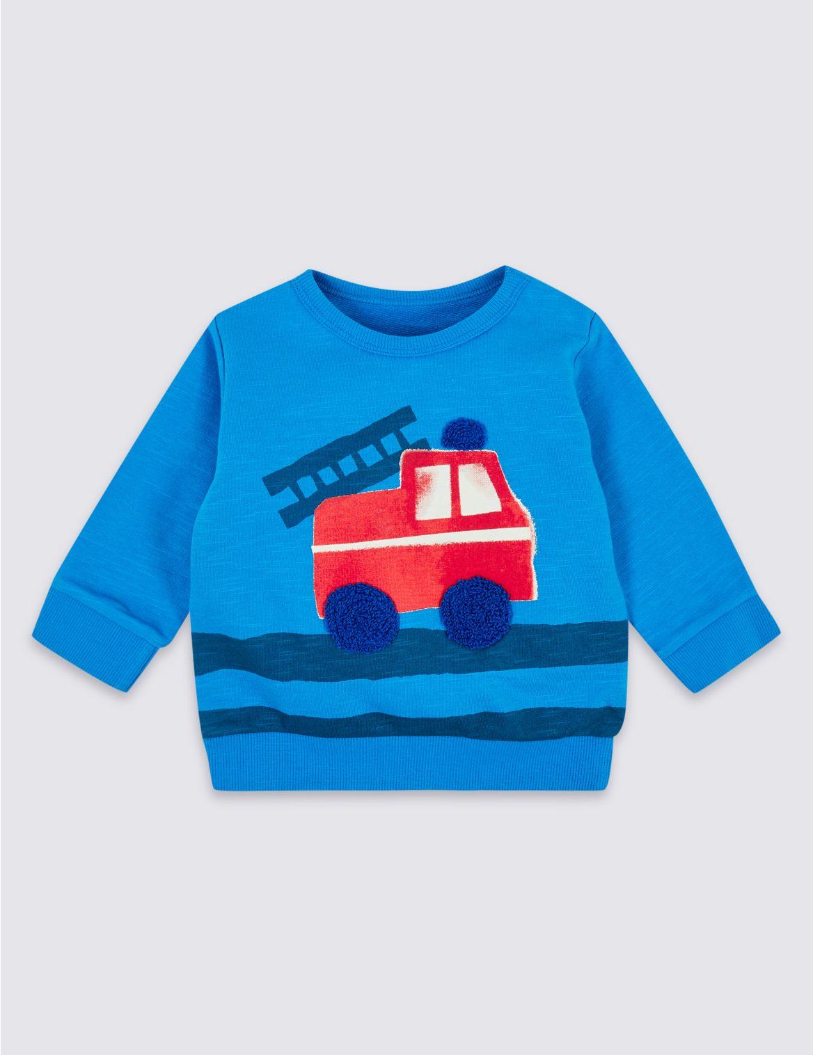 Pure Cotton Fire Truck Sweatshirt blue