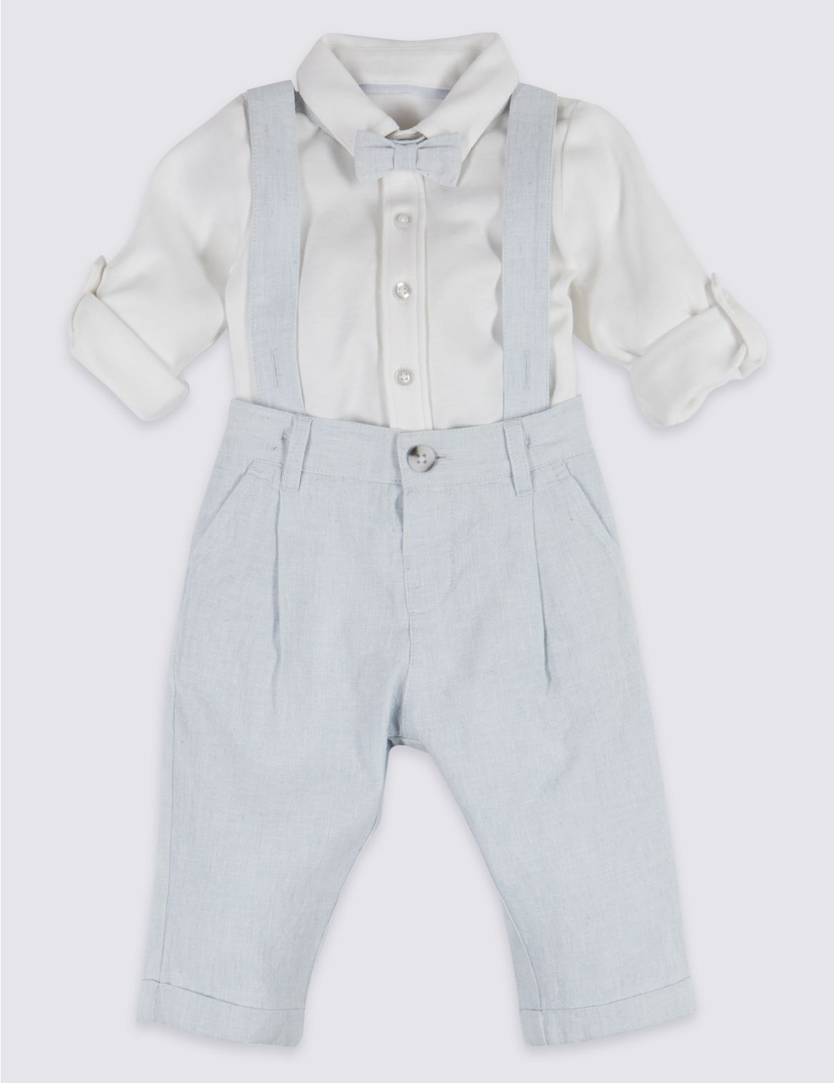 3 Piece Dungarees & Bodysuit with Tie Outfit light blue mix