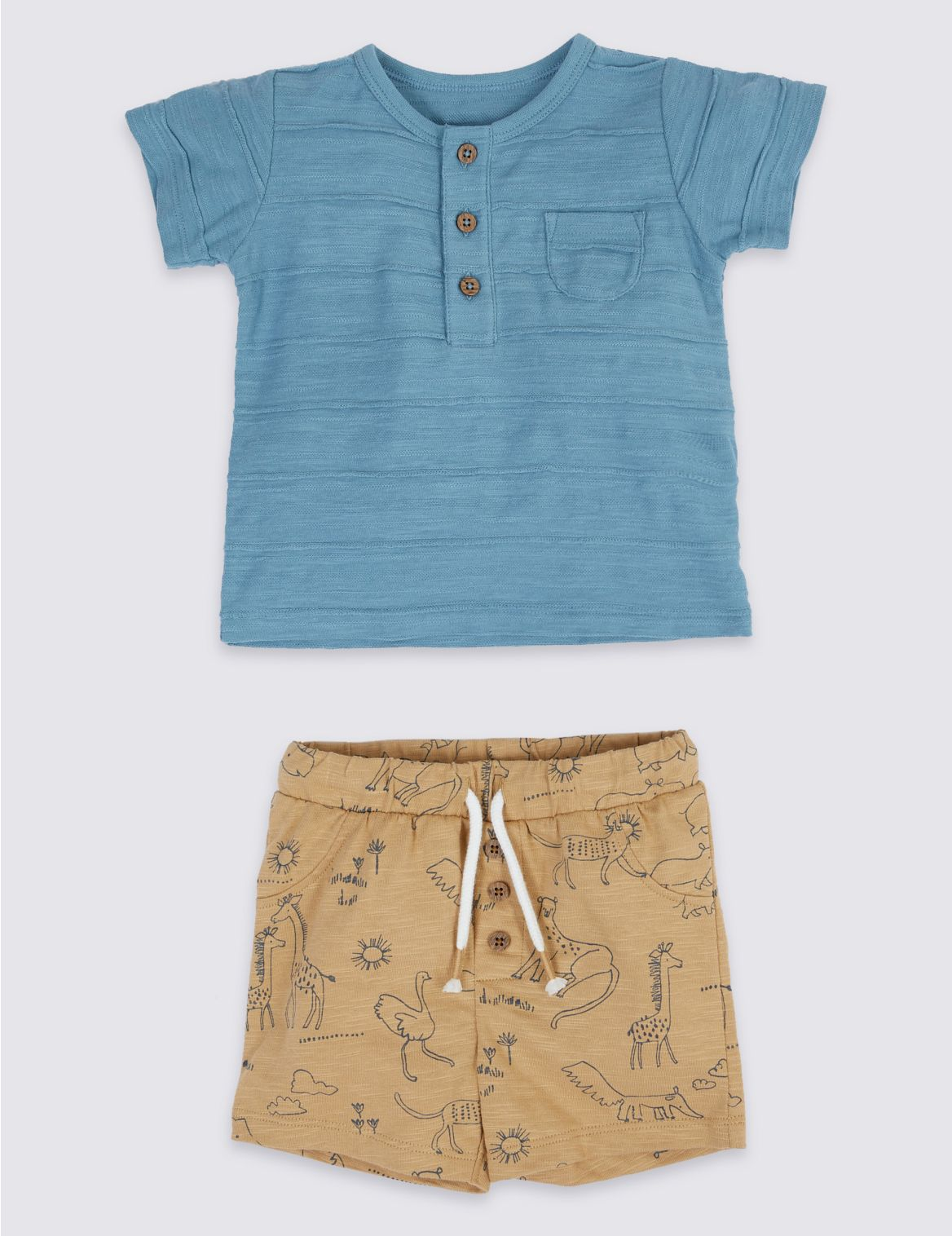 2 Piece Printed T-Shirt & Shorts Outfit blue/green