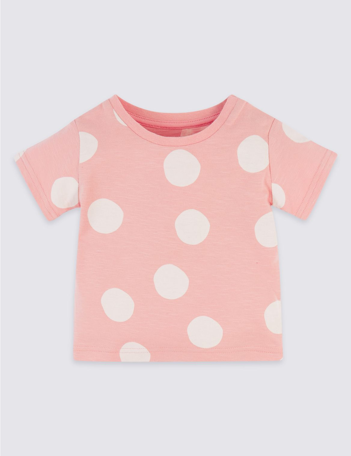 Pure Cotton Spotted T-Shirt pink mix