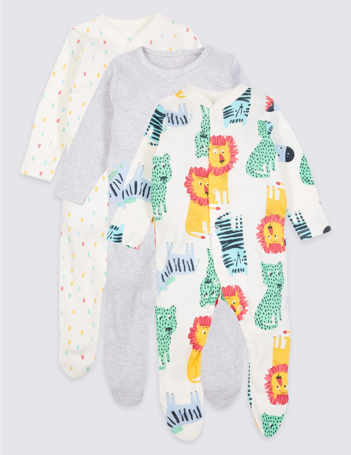 3 Pack Pure Cotton Sleepsuits multi