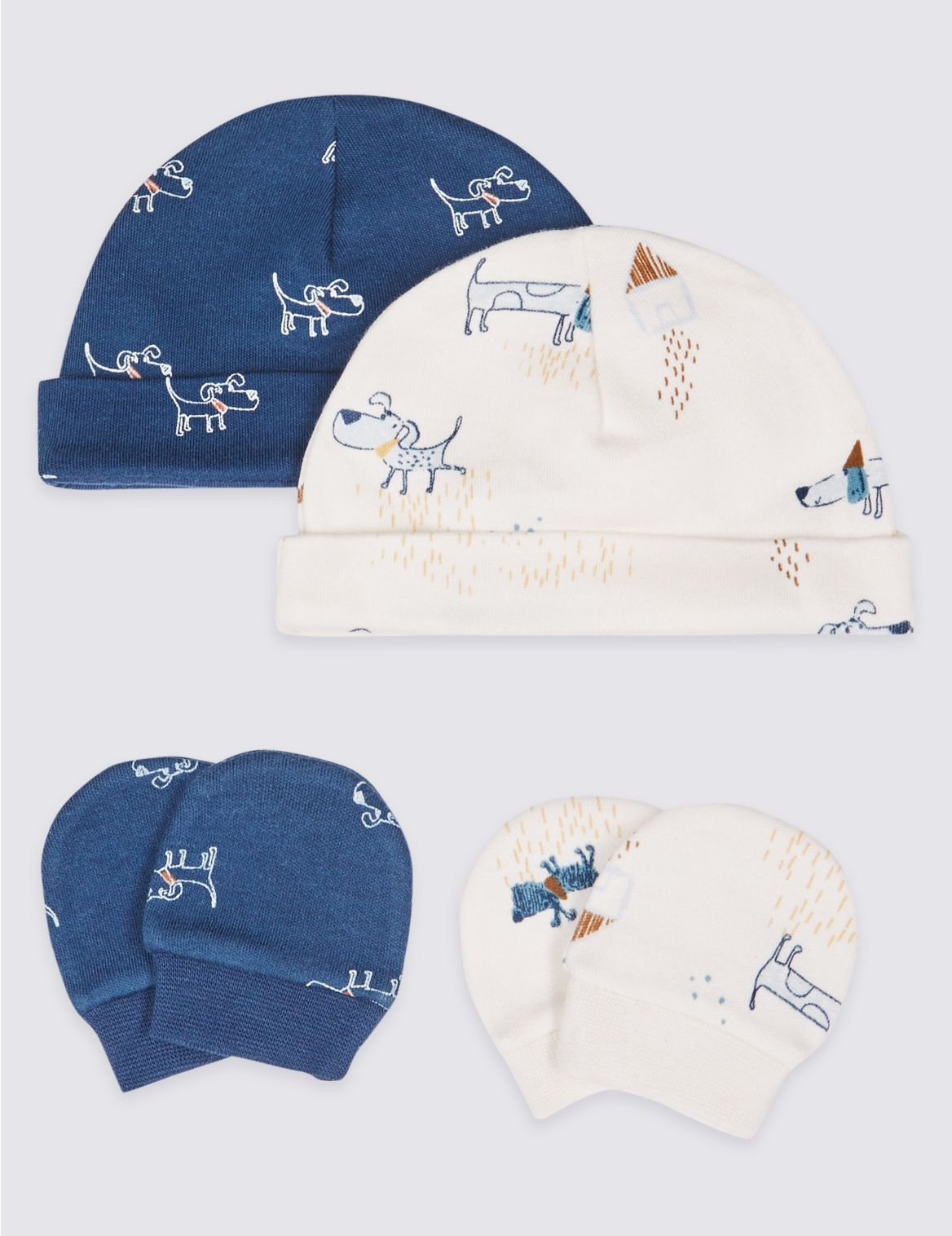4 Piece Premature Hat & Mittens Set blue mix