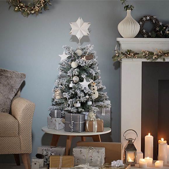 White tabletop Christmas tree with decorations - Christmas Tree Buying Guide Christmas M&S