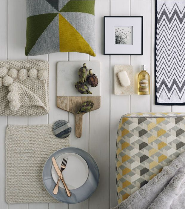 Grey curtains for living room - Cushions Knitted Throws And Crockery With Scandinavian Style