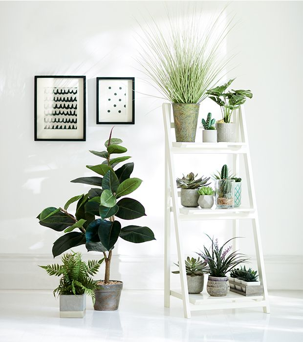 ideas with indoor plants and faux foliage