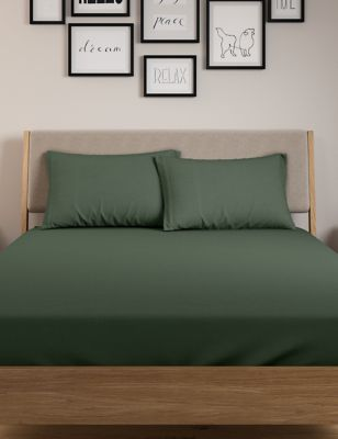 Cotton Rich Percale Deep Fitted Sheet & Pillowcase