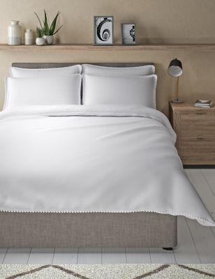 Cotton Rich Pom-Pom Trim Bedding Set