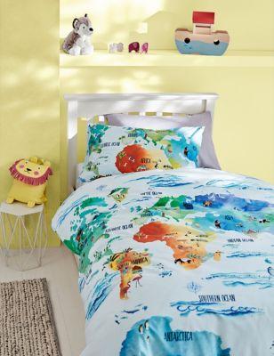Cotton Rich World Map Bedding Set