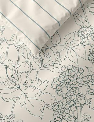 Pure Cotton Linear Floral Bedding Set