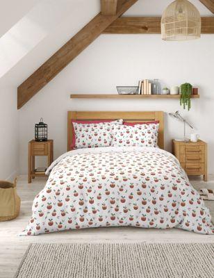 Cotton Mix Christmas Pudding Bedding Set