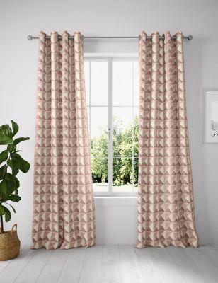 Cotton Mix Geometric Eyelet Curtains