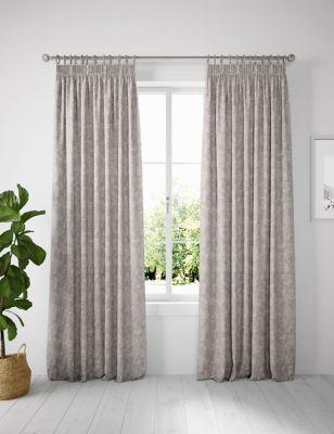 Metallic Jacquard Pencil Pleat Curtains