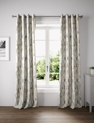 Cotton Watercolour Eyelet Curtains
