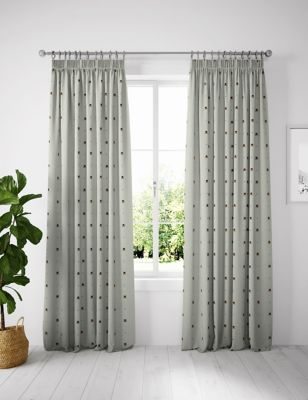 Cotton Mix Bee Pencil Pleat Blackout Curtains