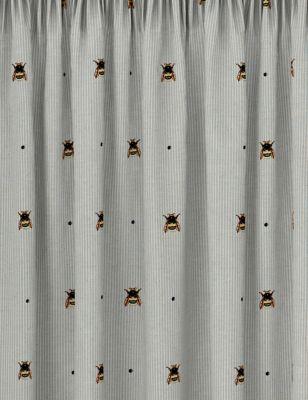 Cotton Mix Bee Pencil Pleat Blackout Curtains