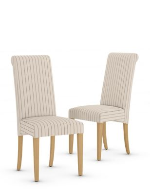 Set of 2 Hepworth Striped Dining Chairs