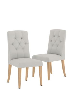 Set of 2 Button Back Dining Chairs