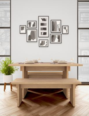 Modern Oak Dining Table with Benches