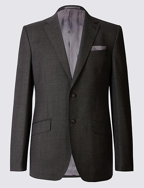 Textured Regular Fit Wool Suit