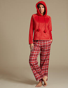 Hooded Long Sleeve Pyjama Set, , catlanding