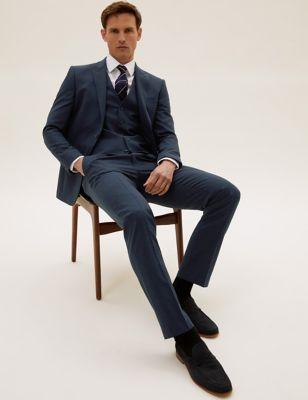 The Ultimate Navy Slim Fit Wool Pinstripe 3 Piece Suit