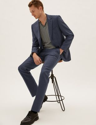 Wool Tailored Fit Striped Suit