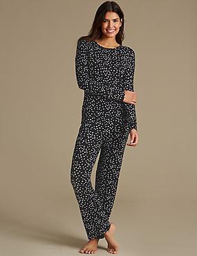 Star Print Long Sleeve Pyjama Set, , catlanding