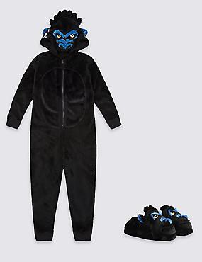 Gorilla Onesie & Slippers Set, , catlanding