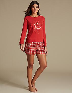 Printed Short Pyjama Set with Mule Slippers, , catlanding