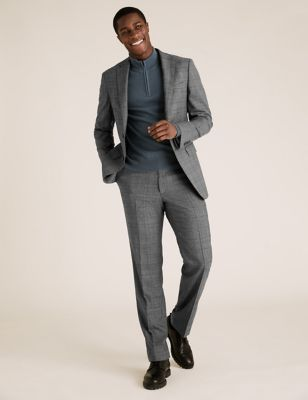 Charcoal Regular Fit Wool Checked Suit