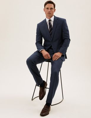 Navy Tailored Fit Wool Textured Suit