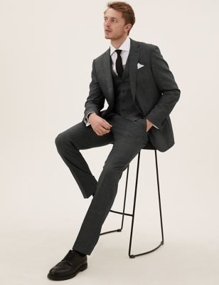Tailored Fit Wool Puppytooth 3 Piece Suits
