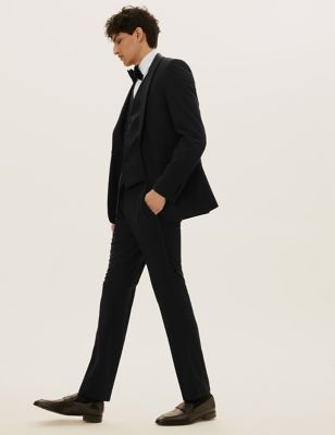 Black Slim Fit Textured 3 Piece Dinner Suit