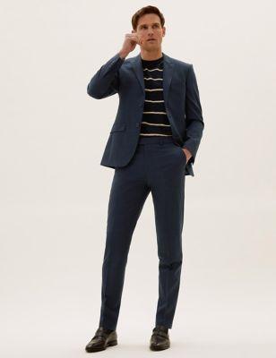 The Ultimate Navy Slim Fit Wool Pinstripe Suit